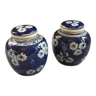 Asian Blue & White Jars - A Pair