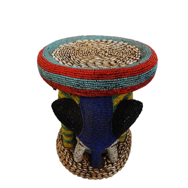 Image of African Beaded Bamileke Elephant Stool