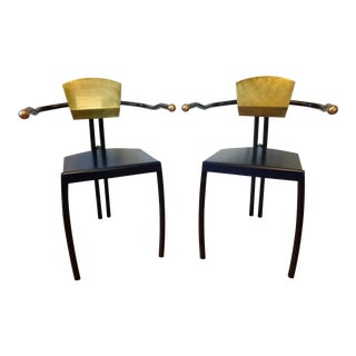 Memphis Style Iron & Brass Armchairs - A Pair