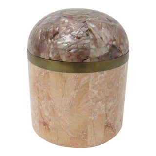 Maitland Smith Tessellated Marble and Mother-of-Pearl Canister