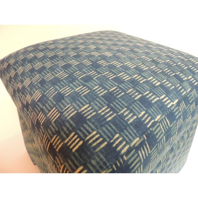 Vintage Stools Covered in Vintage Batik Indigo Textile - Pair - Image 5 of 6