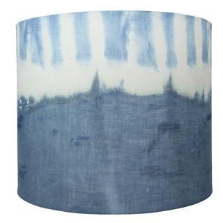 Linen Indigo Shibori Itajame Handmade Lampshade