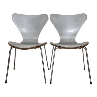 Arne Jacobsen for Fritz Hansen Chromed Steel Chairs - A Pair