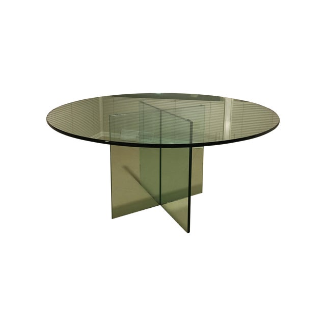 X-Base Round Top Glass Dining Table - Image 1 of 7