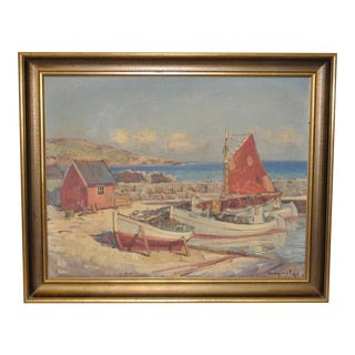 Mogens Ege Impressionist Coastal Landscape w/ Fishing Boats c.1930