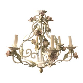 White Tole Floral Chandelier