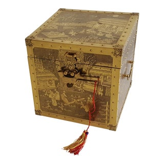 Vintage Brass Engraved Chinese Storyteller's Box