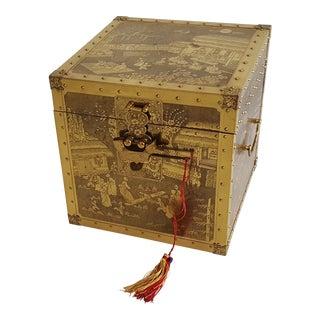 Vintage Brass Engraved Chinese Storyteller's Box