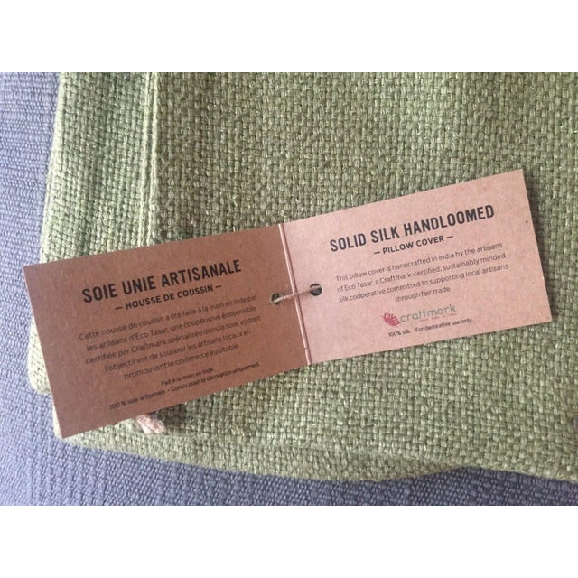 West Elm Green Tea Hand Loomed Silk Pillow Cover - Image 7 of 11