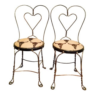 Rustic Burlap Copper Parlor Chairs - A Pair