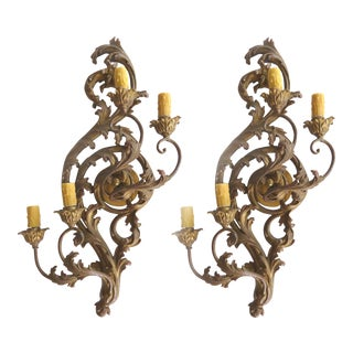 Antique Carved Gilt-Wood Sconces - Pair
