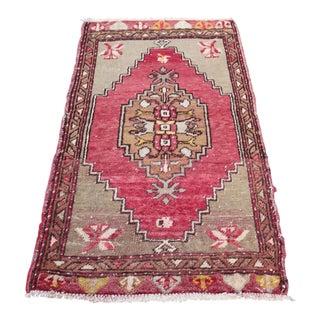 Red Turkish Oushak Carpet - 1′6″ × 2′8″