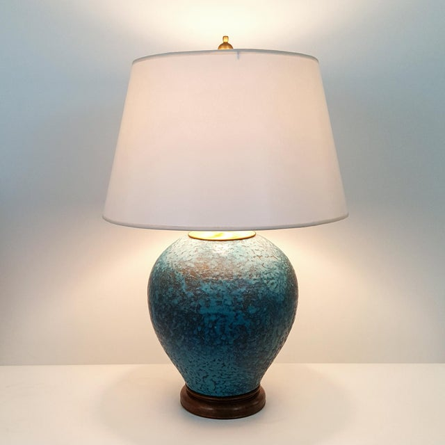 Hollywood Regency Turquoise Pottery Lamp - Image 6 of 6