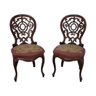 Victorian Walnut Carved Back Rococo Side Chairs - A Pair