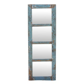 Aged Blue Painted Wood Framed Four-Panel Mirror