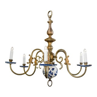Vintage Blue and White Brass Delft Chandelier, circa 1940