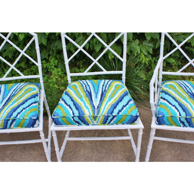 Chinoiserie Faux Bamboo Metal Chairs - Set of 4 - Image 3 of 6