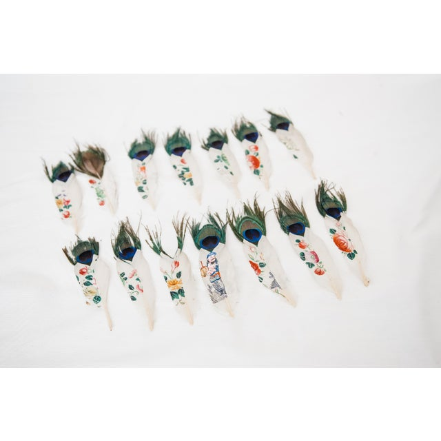 Painted Peacock Feathers - Set of 14 - Image 3 of 8
