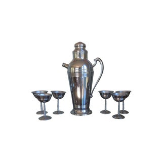 Chrome Plated Stainless Steel 1950's Cocktail Set