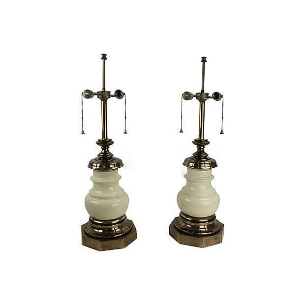Image of Stiffel Lamps in Porcelain & Brass - Pair