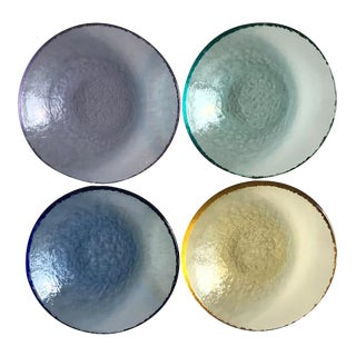 Multi-Colored Textured Glass Dishes - Set of 4