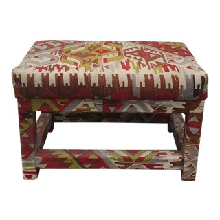 Turkish Kilim Covered Ottoman