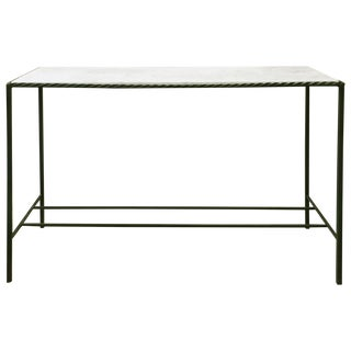 Metal Rectangular White Marble Top Console Table