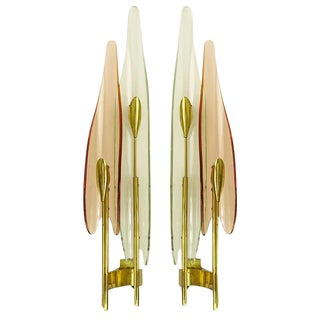 "Pair of ""Dahlia"" Sconces by Max Ingrand for Fontana Arte"