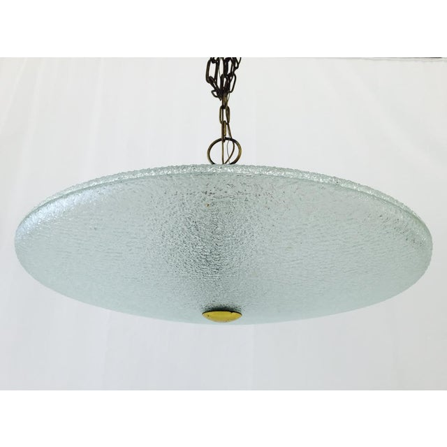 Vintage Mid-Century Glass & Brass Disk Pendant Light - Image 8 of 11
