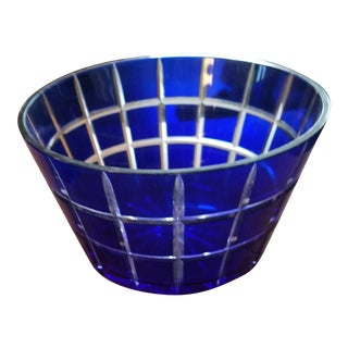 Cobalt Blue Bohemium Cut Crystal Bowl
