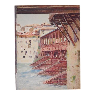 Vintage Lithograph Norther Italy, Bassano