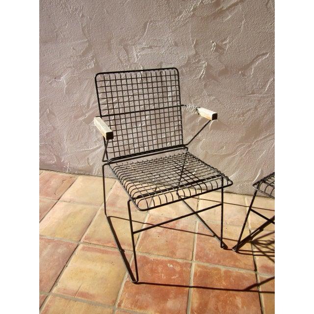 John Keal Style Modern Patio Iron Armchairs - Image 3 of 5