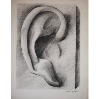 Mid-Century Cubist Ear Charcoal Drawing