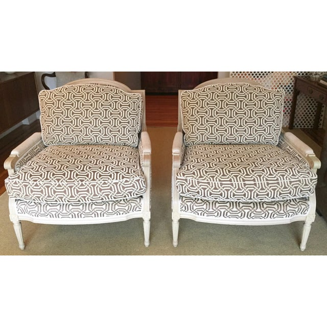 New louis style living room chairs a pair chairish for Pair of chairs for living room