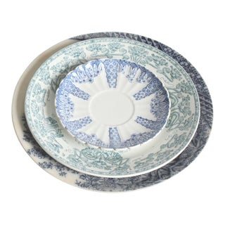 Vintage Blue & Green Floral China Plates- Set of 3