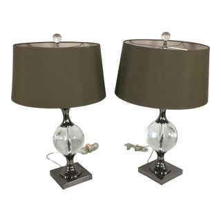 John Richard Glass Sphere Table Lamps - A Pair