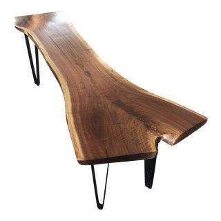 Repurposed Live-Edge Coffee Table Bench