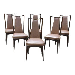 Set Of Six French Art Deco Mahogany Dining Chairs Circa 1940s.