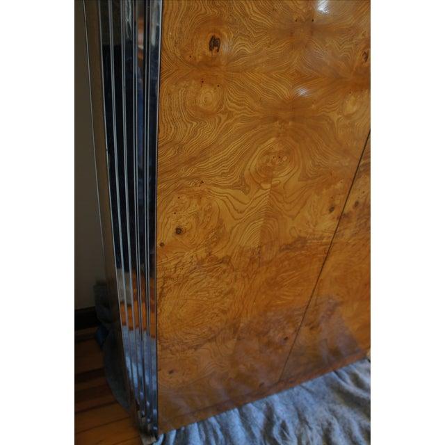 Milo Baughman Burl & Chrome Skyscraper Bar Cabinet - Image 5 of 11