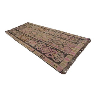 "Vintage Turkish Kilim Hand Woven Wool Large Runner Rug - 5'5"" X 12'5"""