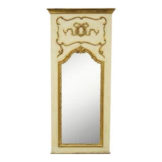 Antique Italian Cream & Gold Gilt Wood Trumeau Mirror