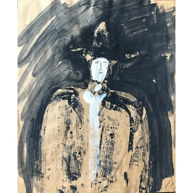 """1968 Jack Hooper """"Man With Hat"""" Painting - Image 2 of 8"""