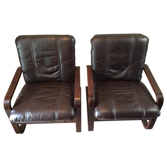 Image of Mid-Century Bentwood Leather Lounge Chairs - Pair