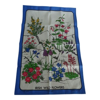 Vintage Linen Irish Wild Flowers Print Tea Towel