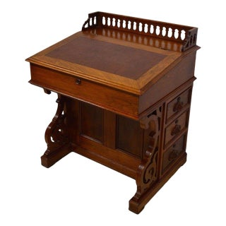 Antique Victorian 1800's Walnut Captain's Davenport Ladies Secretary Desk