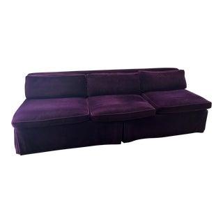 Vintage Designer Purple Mohair Sofa