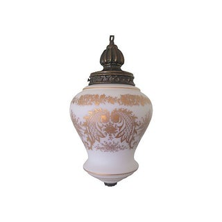 Hand-Painted French Glass Pendant Light