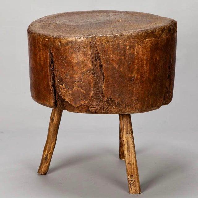 19th Century Primitive Round Butcher Block Table - Image 2 of 8