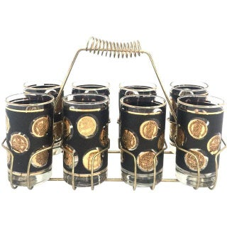 Vintage Black/Gold High Ball Glasses With Caddy