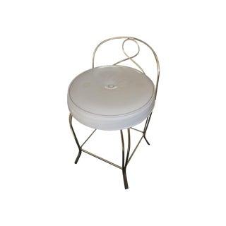 Vintage Vinyl & Brass Vanity Chair